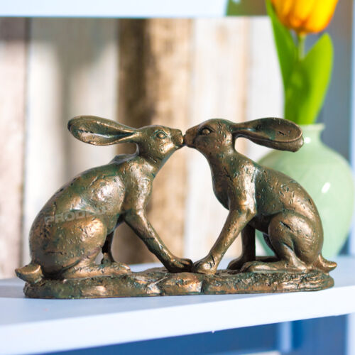Bronze Effect 12cm Kissing Hares Ornament Figurine Statue Home Decor Object Item