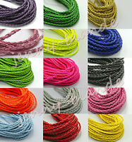 5/20 Yards Man-made Leather Braid Rope Cord Jewelry Bracelet Making String 3mm