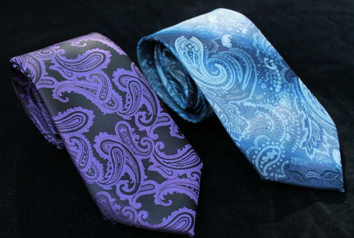 2 edle Krawatten KISS TIES violett / schwarz + S&W Blautöne Paisley 150/155cm