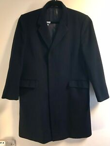 Vintage Blue Austin Reed London Men S Pure New Wool Coat Size 44in 112cm Reg Ebay