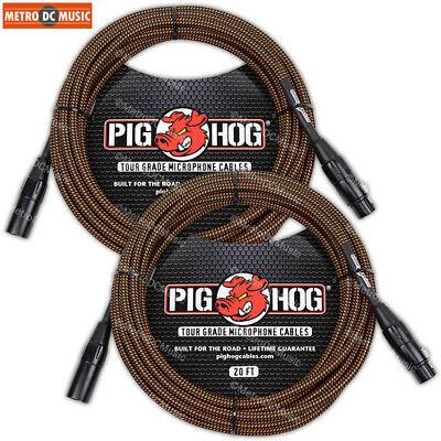 2-Pack Pig Hog Rasta Stripe Woven XLR Microphone Mic Cable Cord 20ft XLR