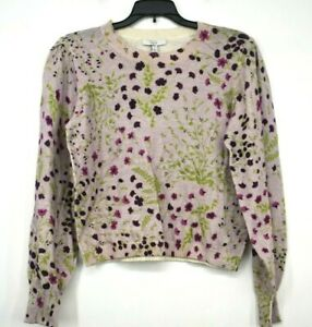 Joie-Womens-Pink-Verna-Floral-Crew-Neck-Sweater-Cotton-Cashmere-Blend-NWT