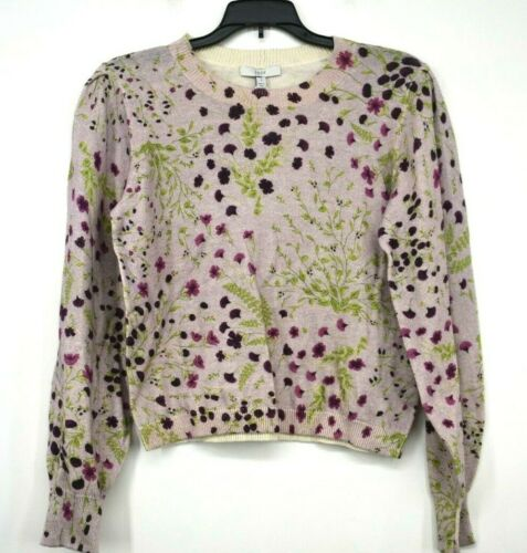 Joie Womens Pink Verna Floral Crew Neck Sweater Cotton Cashmere Blend NWT