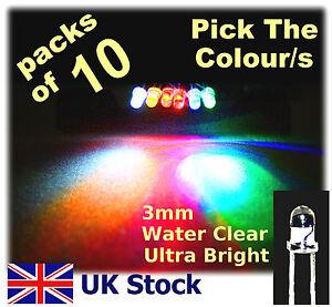 10-x-3mm-LEDS-White-Blue-Red-Yellow-Orange-Green-Ultra-Bright-led-UK-Stock
