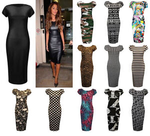 9250d7dc01ac2 New Ladies Women's PVC Camouflage Printed Midi Bodycon Dress UK Plus ...