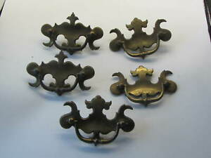 5 Vintage XBC Solid Brass Chippendale Drawer Pulls X12026