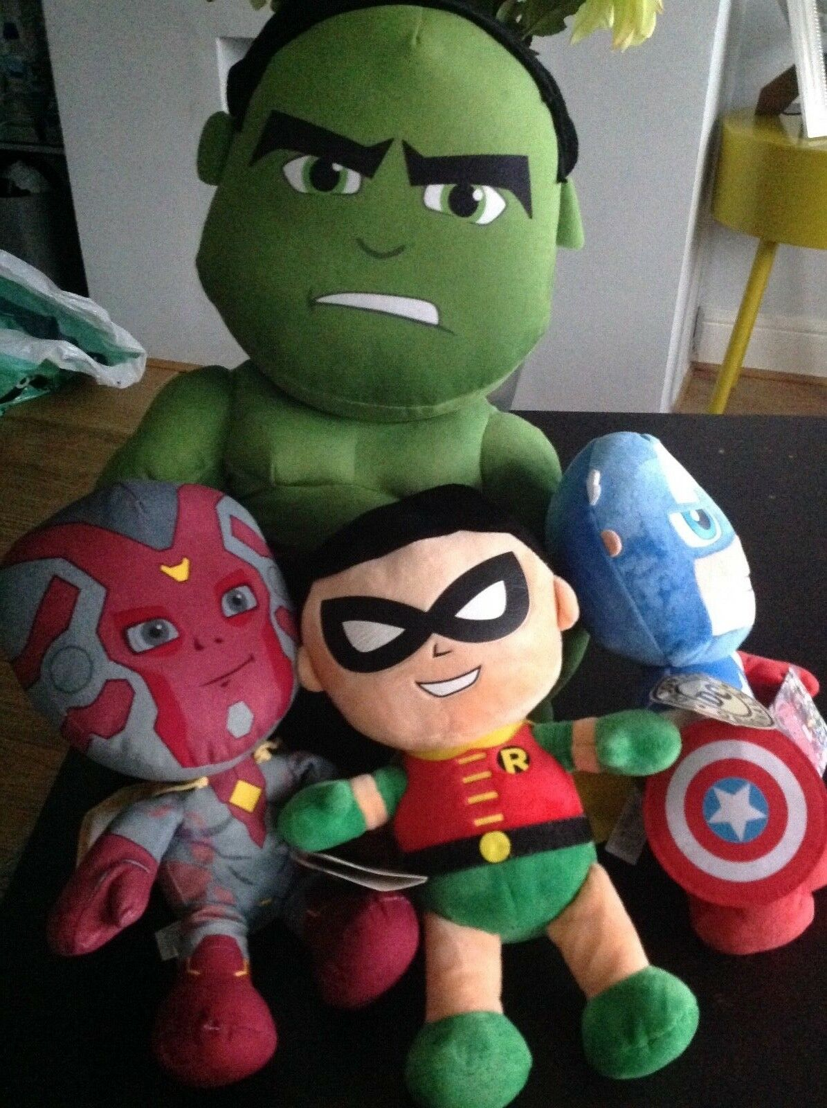 NEW OFFICIAL MARVEL AVENGERS HULK VISION CAPTAIN AMERICA ROBIN PLUSH SOFT TOY