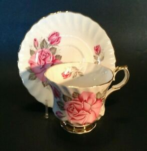 Queen Anne Pedestal Cup & Saucer - Pink Rose - Gold Accents - England Bone China