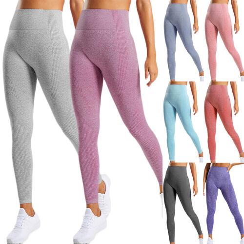 Womens High Waisted Yoga Leggings Seamless Fitness Sports Gym Pants Trousers UK