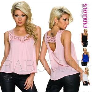 New-Women-039-s-Sleeveless-Crochet-Trim-Summer-Top-Loose-Fit-Blouse-Size-10-12-M-L