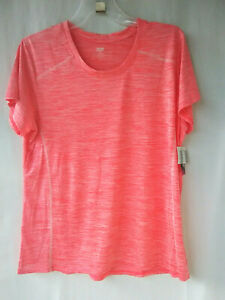 Zone-Pro-Women-039-s-Active-Wear-Short-Sleeve-Space-Dyed-Top-Coral-Pink-2X