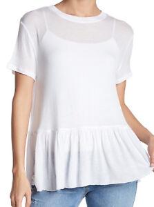 Abound-NEW-White-Women-039-s-Size-Large-L-Sheer-Crewneck-Peplum-Tee-T-Shirt
