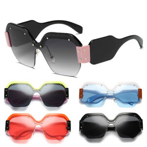 f22051ad2265 NEW Women Large ladies oversized sunglasses half frame retro fashion ...