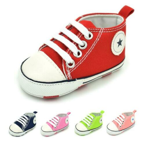 Newborn Baby Boy Girl Soft Sole Crib Shoes Toddler Infant Canvas Casual Sneakers