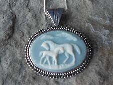 HORSE AND FOAL CAMEO NECKLACE - HORSE LOVERS  - WEDGEWOOD BLUE - HORSE COLLECTOR