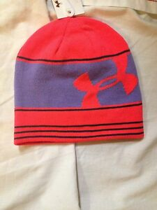 edb0e419e Details about UNDER ARMOUR GIRLS BEANIE HAT CAP~YOUTH SWITCH IT UP  REVERSIBLE SKI~HOT PINK