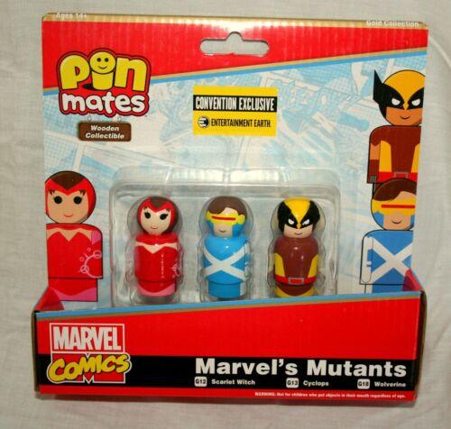 3 Mutants SDCC LE Set Wooden Pin Mates Marvel Comics Figure Toy New MIP 2018