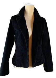 St-John-s-Bay-Corduroy-Jacket-Blazer-Black-Stretch-Women-Button-Up-Size-PM