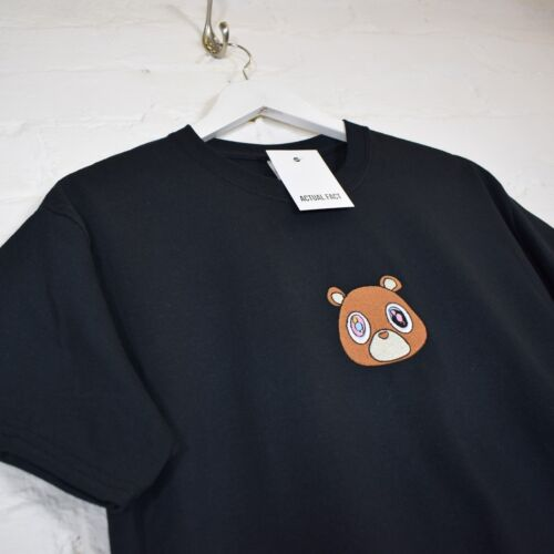 Kanye West New Dropout Bear Embroidered Hip Hop Black Tee T-shirt by Actual Fact