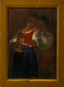 Women-in-Conversation-Candlelight-Genre-Scene-Oil-Painting-on-Wood