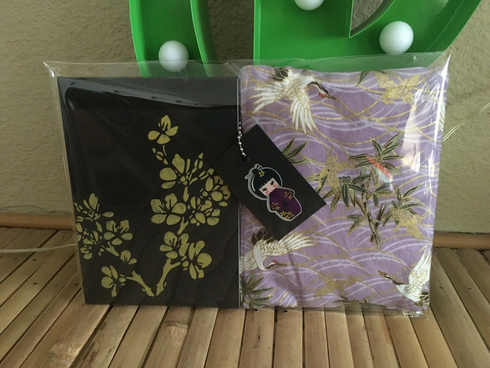Oriental Gold Lilac Crane Cherry Blossom A6 Notepad +cosmetic Purse 2pc Gift Set