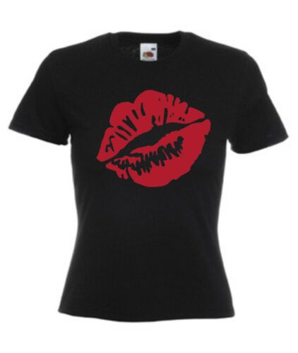 LIPS T-SHIRT Ladies Women/'s Fitted 8-18 Kiss Lipstick Choose Colour