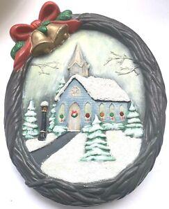 Vintage-Christmas-Musical-Light-Up-Decoration-Church-Wreath-Ceramic-Handmade