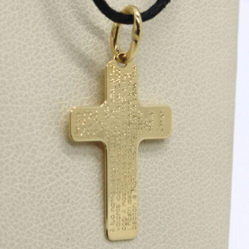 l/'Italie fait 18K or Jaune Plat Pendentif Croix notre père la prière Padre Nostro