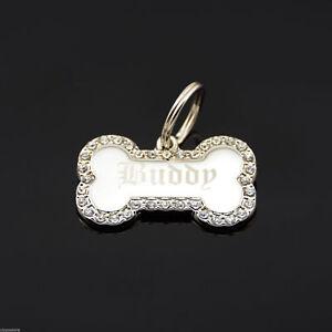 Custom-Engraved-Personalized-Small-Bone-Shape-w-CZ-Dog-Metal-Tag-Pet-ID-Name
