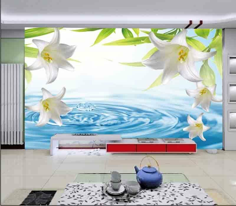 Lily On Clear Water 3D Full Wall Mural Photo Wallpaper Printing Home Kids Decor