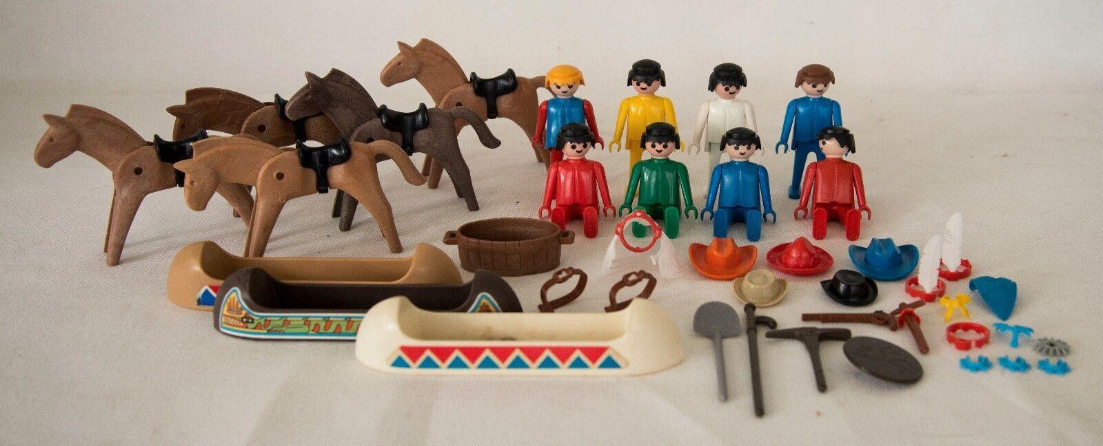 VINTAGE 1970's PLAYMOBIL GEOBRA MIXED MIXED MIXED LOT FIGURES-HORSES-CANOES +++ 9a32fe