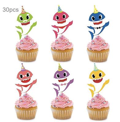 Peachy 30Pc Baby Shark Cake Picks Cupcake Toppers Birthday Party Ebay Funny Birthday Cards Online Benoljebrpdamsfinfo