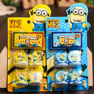 Hot Movie Characters Minions Figures Seal Stamp & Ink Pad Set Kids Children Toy