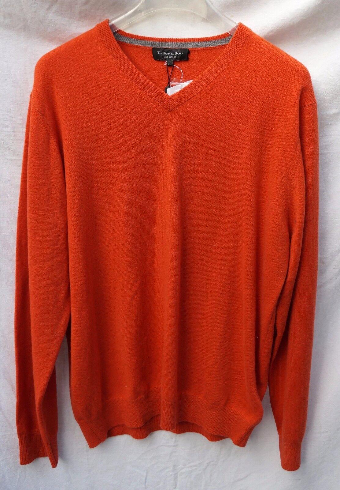 100% Kaschmir Herren Pullover Orange Gr.XL TAILOR & SON rot V-Ausschnitt