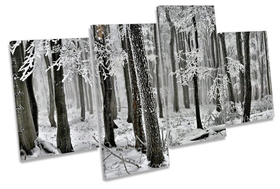 Invierno paisaje paisaje Invierno forestal árboles Multi tela pa rojo  arte enmarcado Panel b2723b