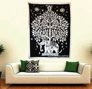Indian-B-amp-W-Elephant-tree-Cotton-Wall-Hanging-30-034-X40-034-Tapestry-Poster-art-as