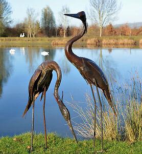 Metal Heron Garden Ornament Sculpture
