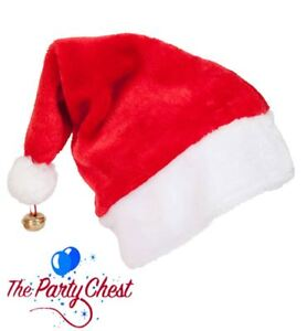 DELUXE SANTA CLAUS HAT WITH BELL Plush Father Christmas Office Party Hat XM4610