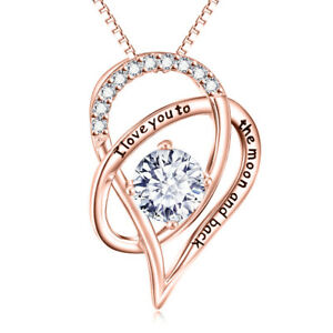 18K-Rose-Gold-I-Love-You-With-TO-THE-MOON-AND-BACK-Necklace-Heart-Pendant-18-034
