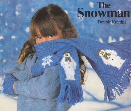 DK 3 Sizes Snowman Childrens Scarf /& Mitts Set Knitting Pattern