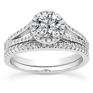 7-8ct-Round-Halo-Diamond-Engagement-Ring-Wedding-Solitaire-Set-14K-White-Gold