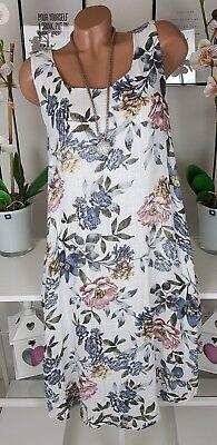 Kleid Sommer Ibiza Blumen Flower Strand Lagenlook Hippie weiß blau Leinen 46 48