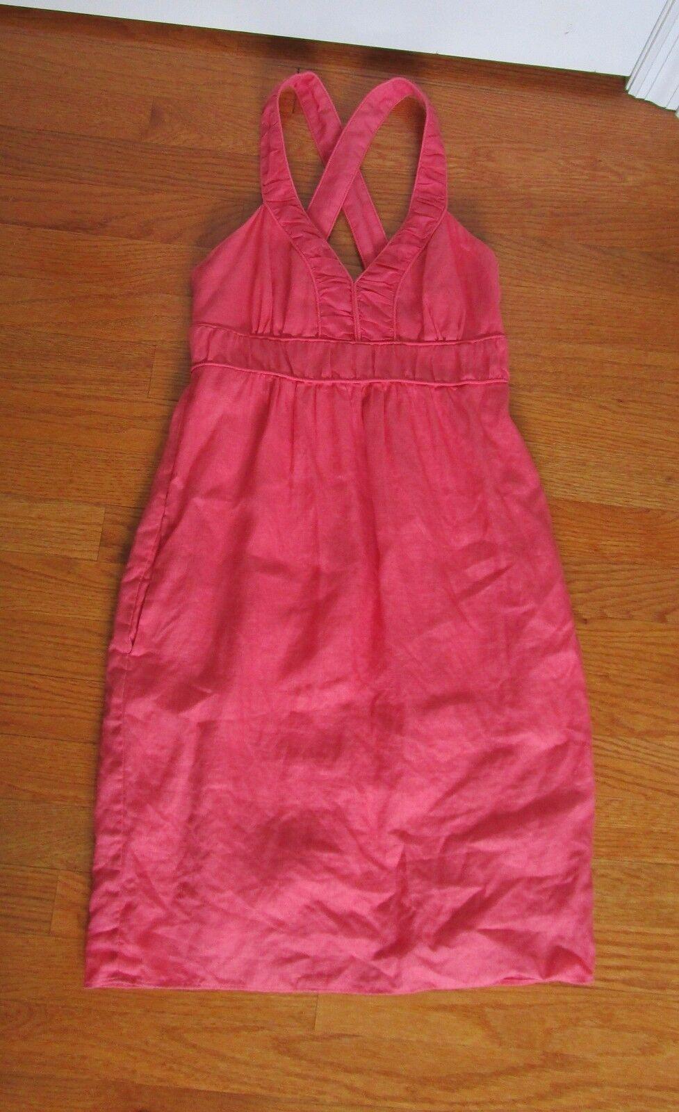 linen BANANA REPUBLIC empire waist knee-length dress salmon pink size 0 pockets