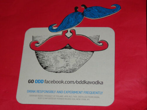 4 Oddka Vodka Coasters...includes fake Blue Handlebar Mustache...Very Cool..NEW