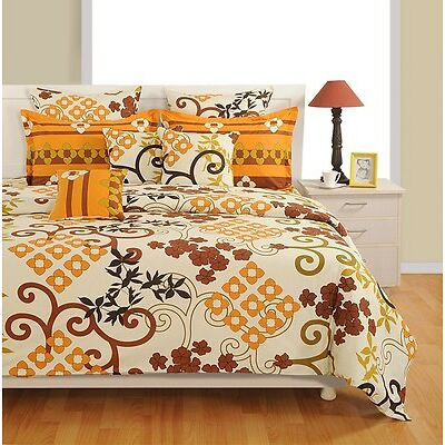 Swayam Brown and Yellow Colour Floral Print Single Bed Sheet with Pillow Covers