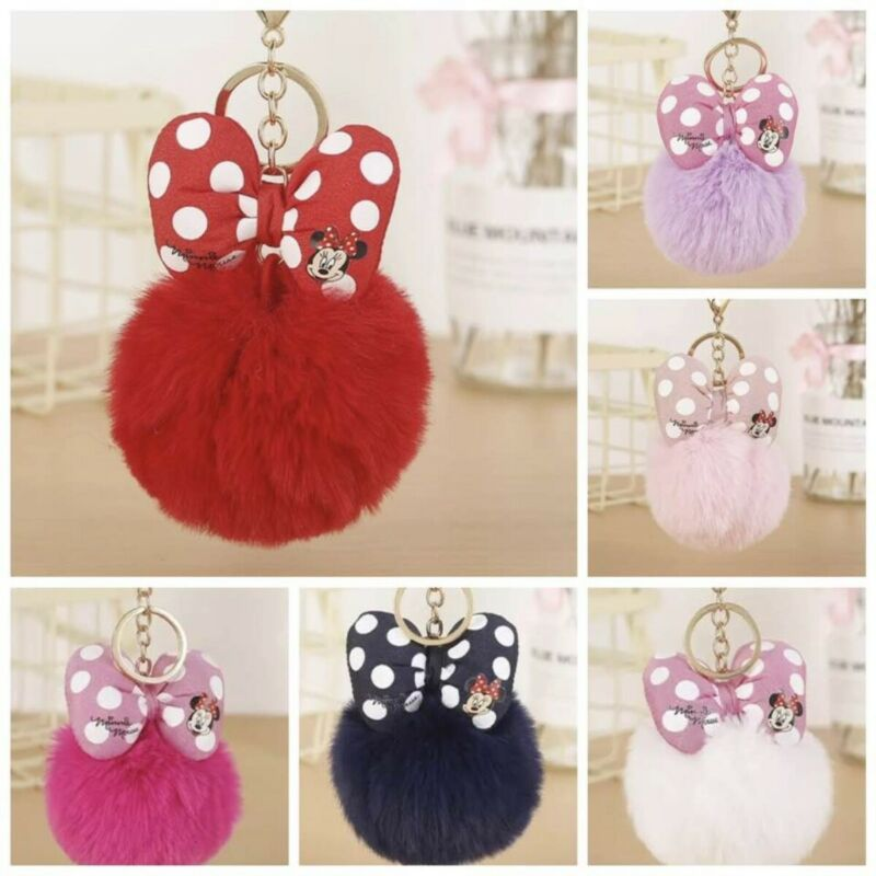 Considerate Minnie Mouse Faux Fur Pompom Ball Keychain Bag Key Ring Charms Key Holder Ideal Gift For All Occasions
