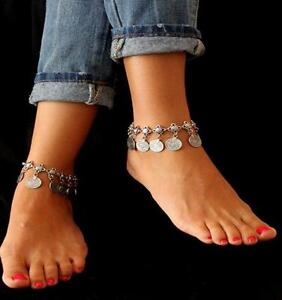 Antique-Silver-Boho-Gypsy-Coin-Anklet-Ankle-Bracelet-Foot-Chain-Women-Jewelry