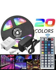 LED-Strip-light-5M-RGB-5050-Waterproof-SMD-44-Key-Remote-12V-US-Power-Full-Kit