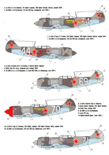 Sowjetunion 1//72 TOPP DECALS FO72005// Foxbot Decals Lavochkin La-5FN