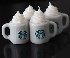 DOLLHOUSE MINIATURES 4 CUPS OF HOT COFFEE WITH WHIPPED CREAM FOOD BEVERAGE DRINK